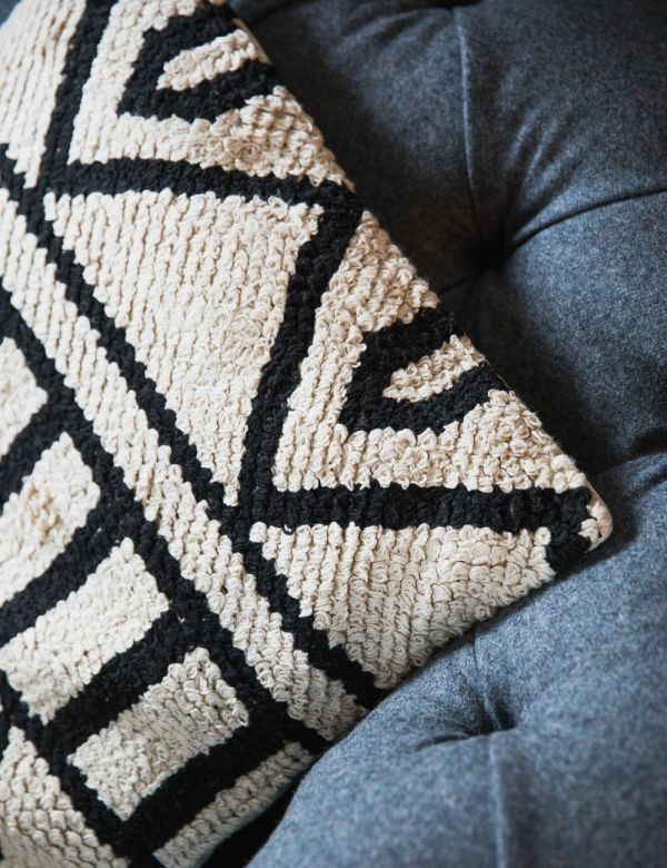 Hand Knotted Black & White Cushion