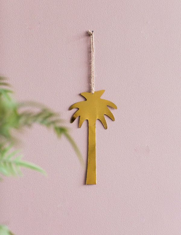 Hanging Gold Palm Tree Solid Decoration
