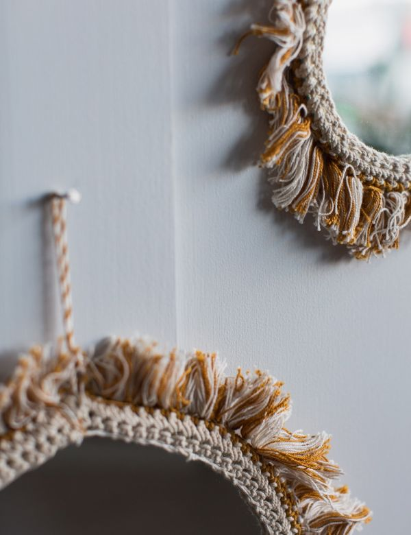 Hanging Mirror with Off White Cotton Fringing - Two Sizes