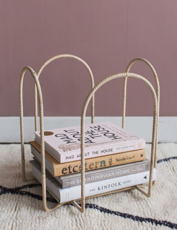 Iron & Rattan Magazine Rack
