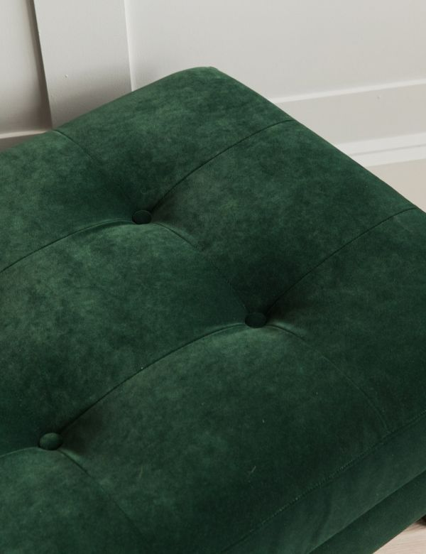 Kingston Button-and-Stud Footstool in Emerald Green