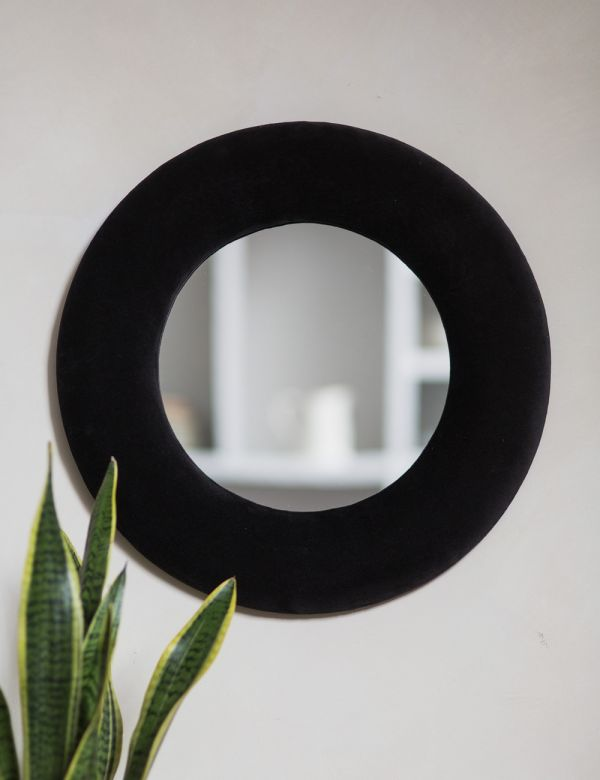Large Grey Velvet Round Mirror