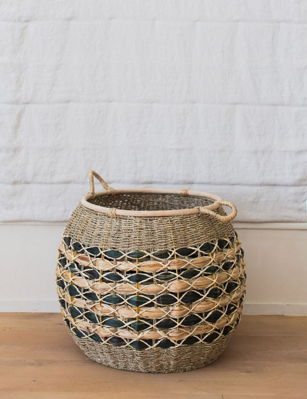 Large Natural & Black Water Hyacinth Basket