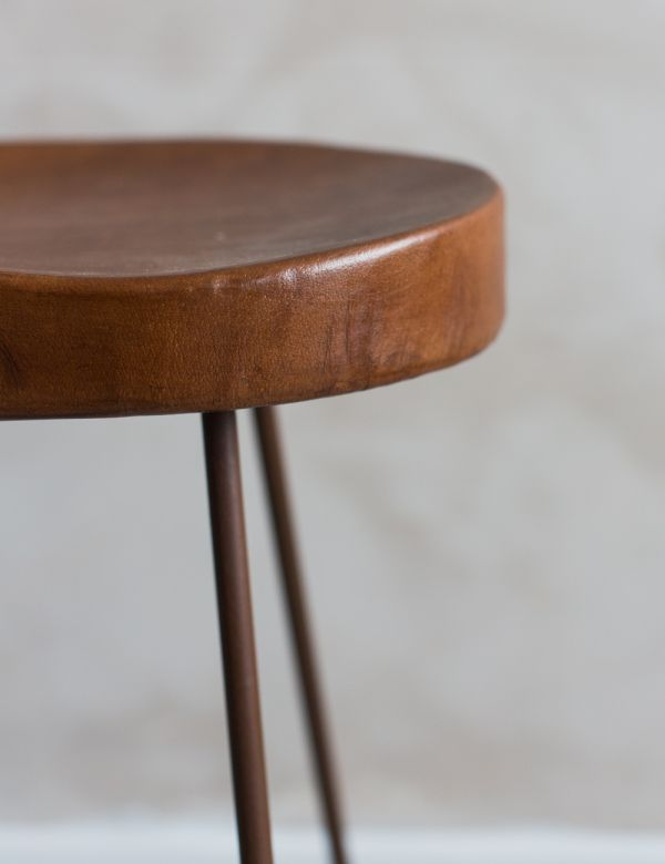Leather Industrial Stool - Two Sizes Available