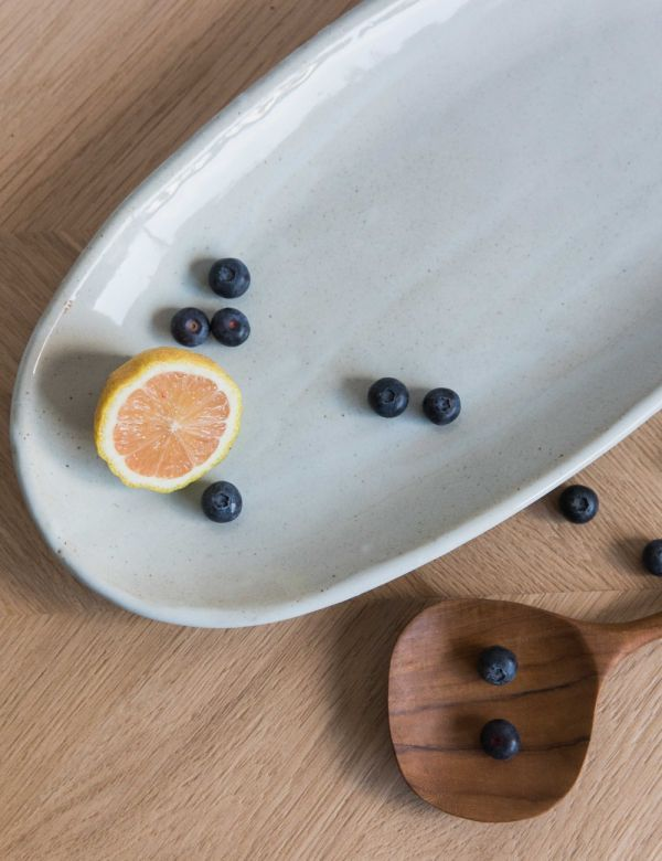 Made Ivory Ceramic Serving Tray - Wide