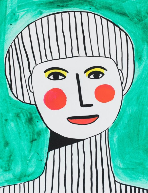 Margo in Margate Exclusive Girl on Green with Red Lips Print