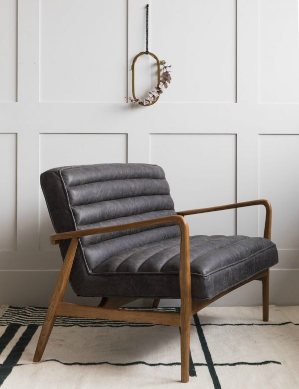 Mid-Century Leather Two Seater - Black