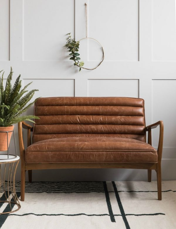 Mid-Century Leather Two Seater