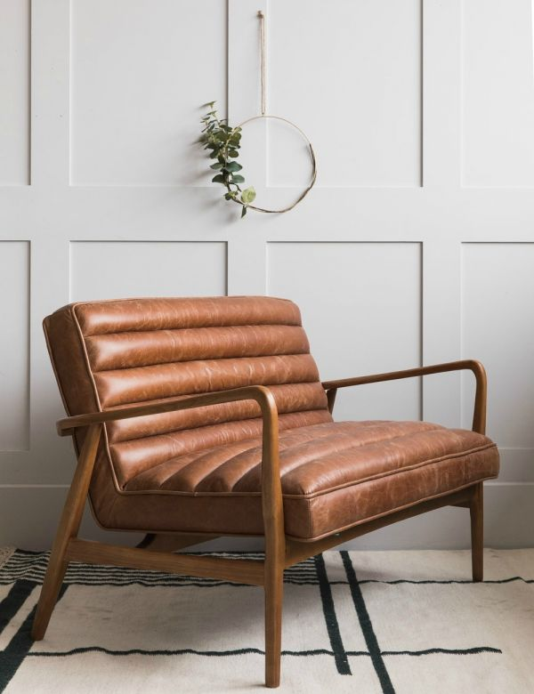 Mid-Century Leather Two Seater - Brown