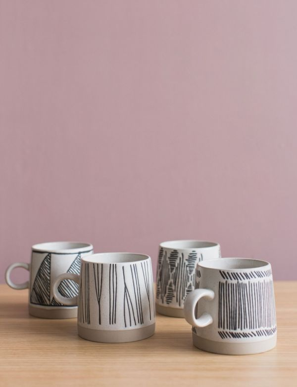 Monochrome Coffee Cups - Set of 4