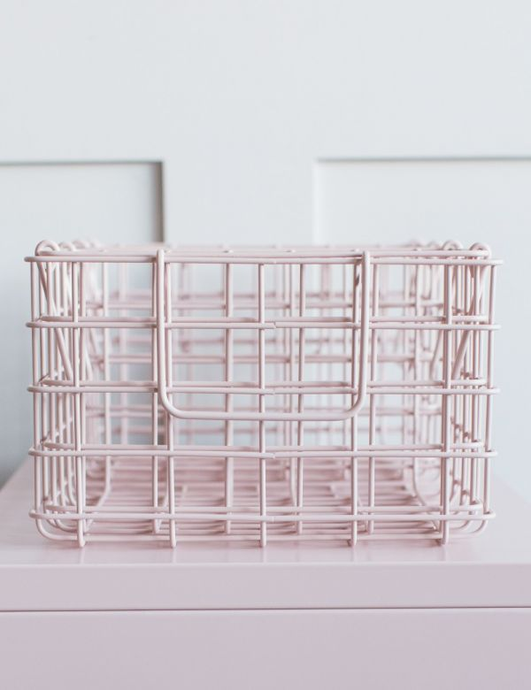 Mustard Made Set of Three Wire Baskets - Blush Pink