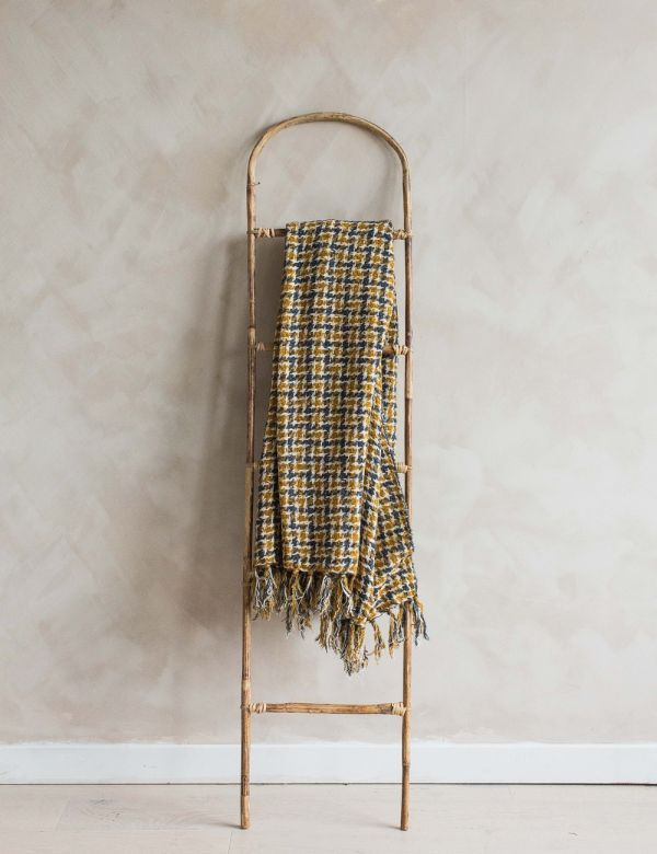 Mustard Checked Wool Throw
