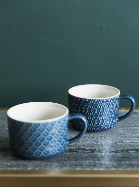 Naomi Blue Stoneware Mug - Two Styles Available