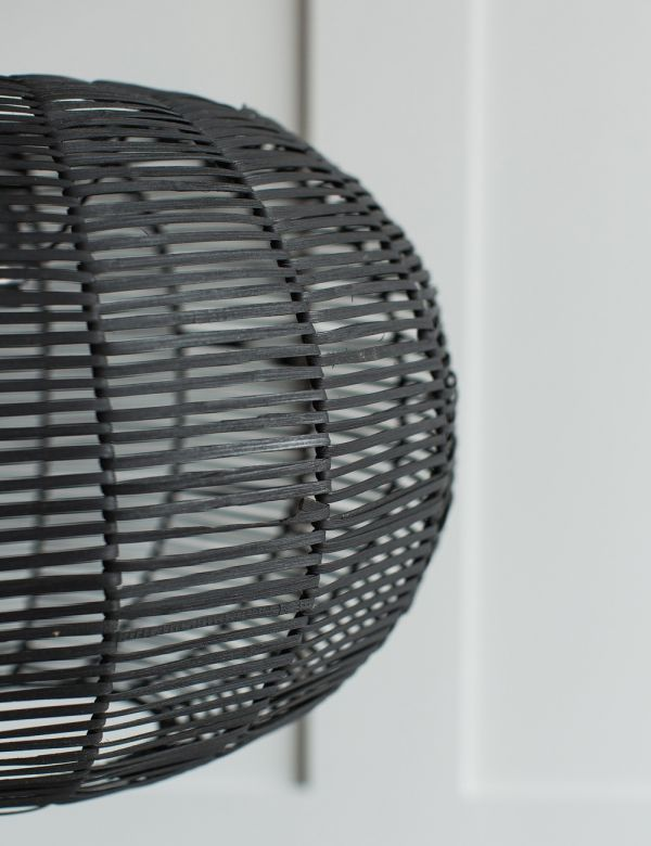 Noko Wicker Round Pendant - Black - Two Sizes Available