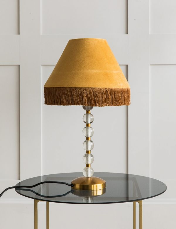 Ornate Velvet Fringed Table Lamp