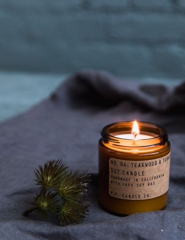 P.F Candle Co. No. 4 Teakwood & Tobacco Small Soy Candle