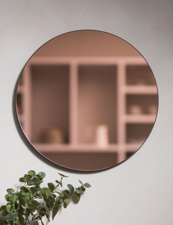 Pink Glass Round Mirror