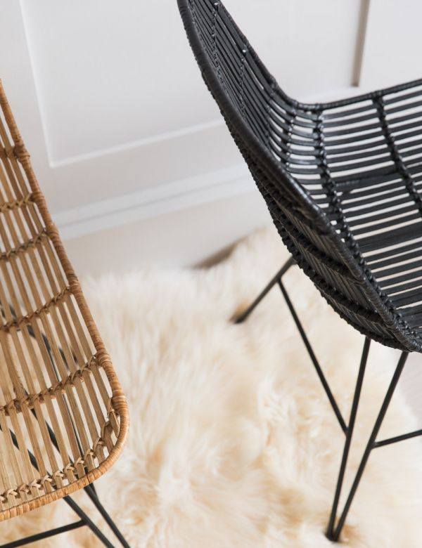 Rattan Dining Chair - Black or Natural