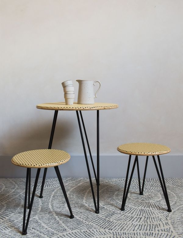 Rattan & Iron Breakfast Table & Stools