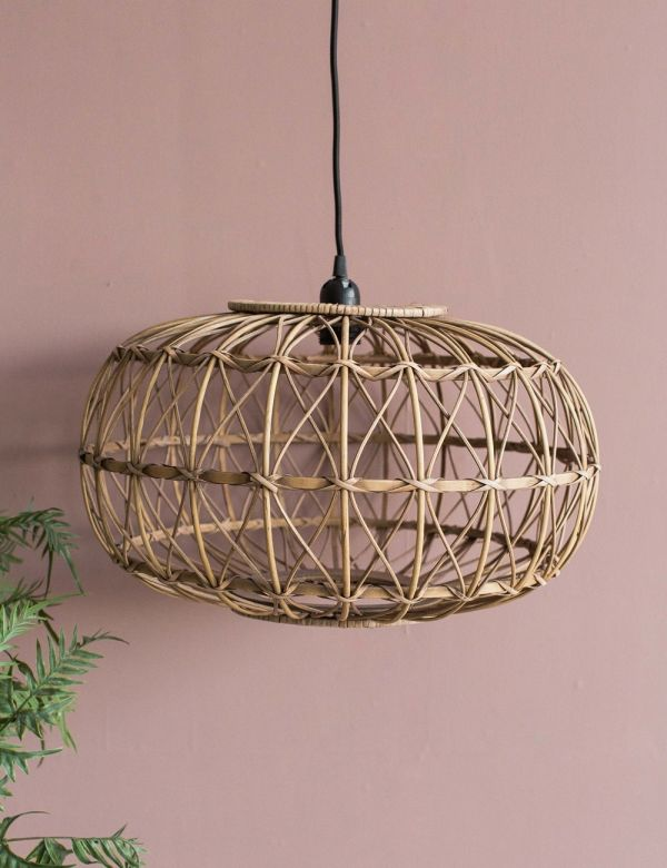 Rattan & Plywood Ceiling Lamp