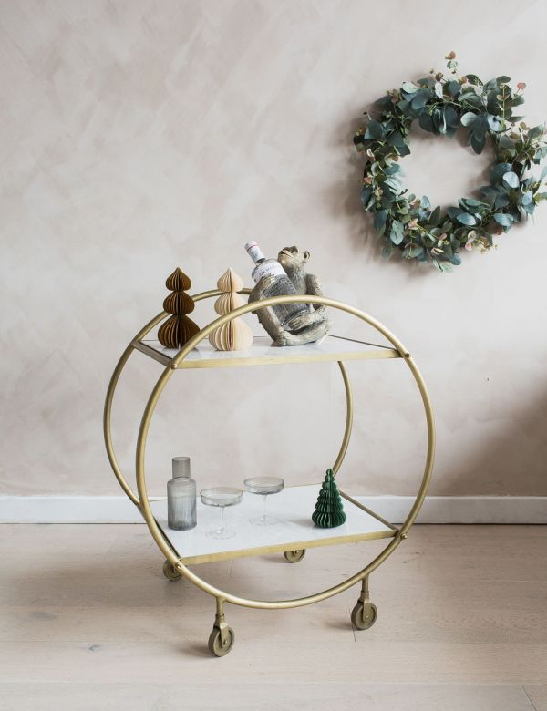 Round Antique Brass & Marble Drinks Trolley