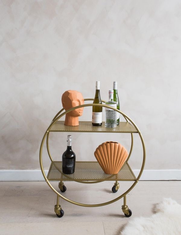 Round Brass Mesh Drinks Trolley