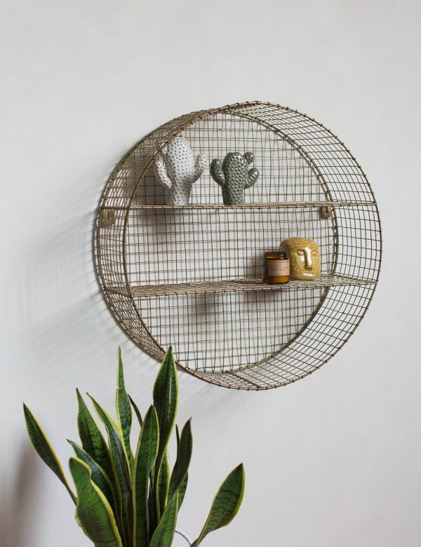 Round Brass Wire Mesh Shelf