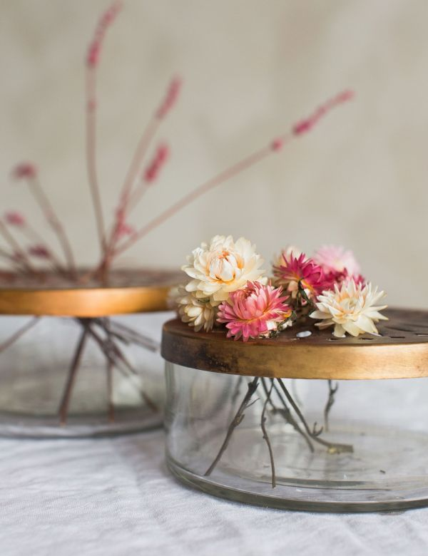 Round Ramla Glass & Antique Brass Flower Vase - Two Sizes Available