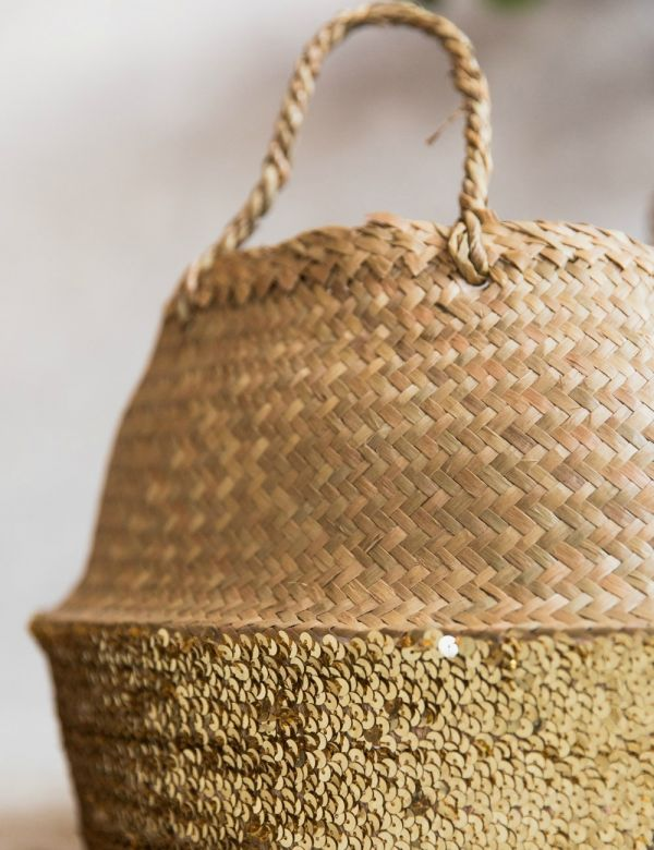 Sequin Basket - Medium Gold or Large Silver