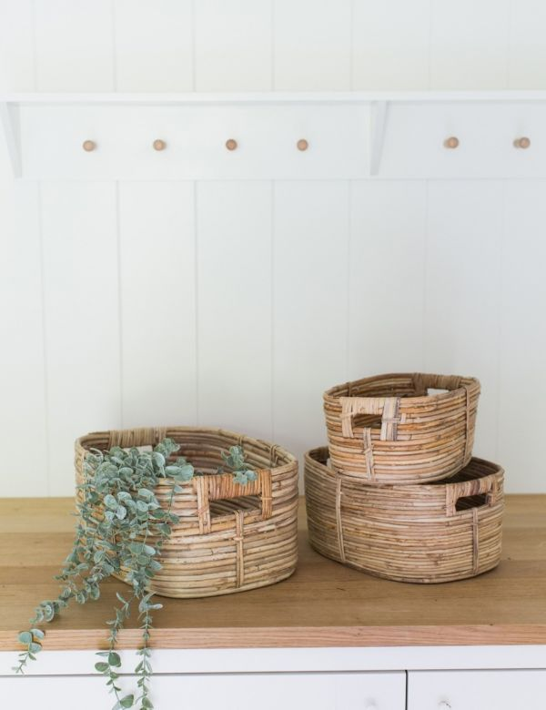 Set of Three Rattan Storage Baskets