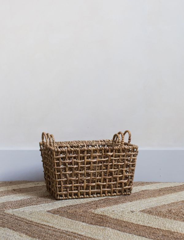Set of Three Seagrass Storage Baskets with Handles