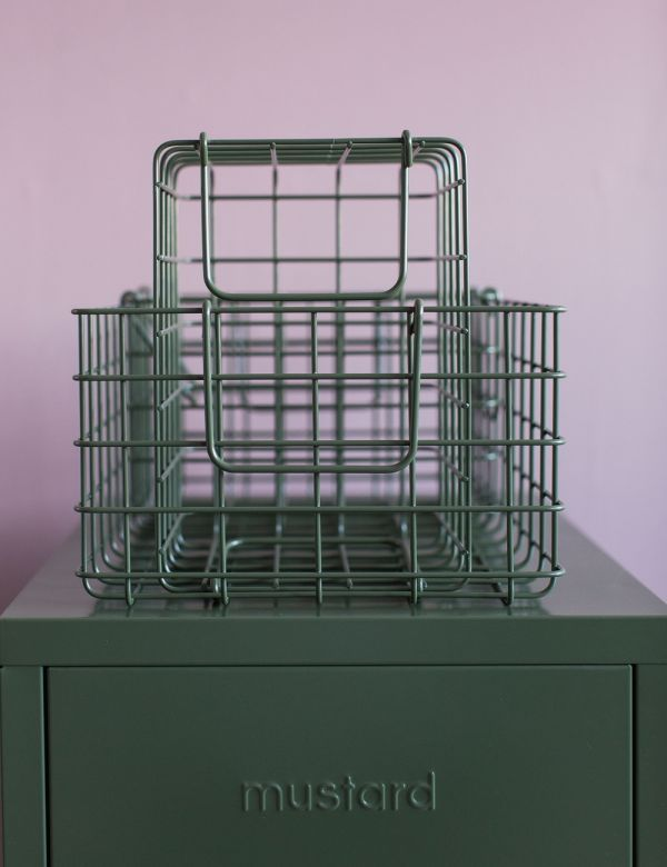 Mustard Made Set of Three Wire Baskets - Olive Green