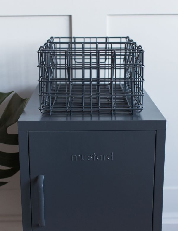 Mustard Made Set of Three Wire Baskets - Slate Grey