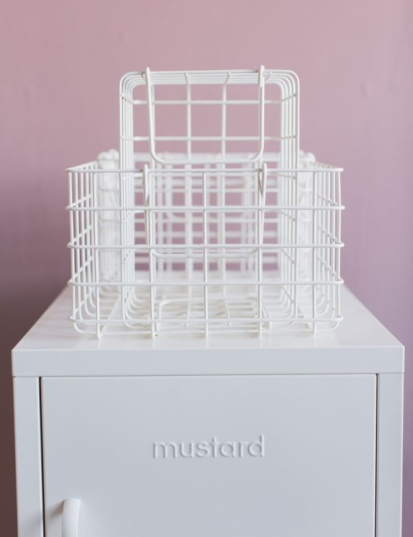 Mustard Made Set of Three Wire Baskets - White