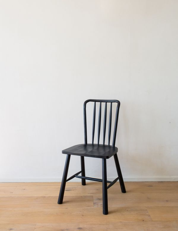 Set of Two Black Nordic Dining Chairs