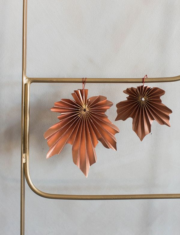 Set of Two Hanging Leaf Decorations - Copper