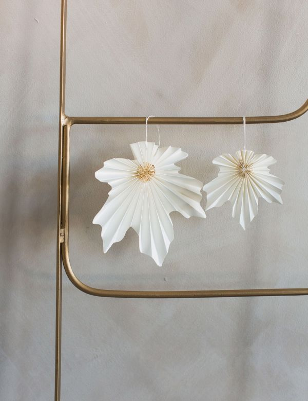 Set of Two Hanging Leaf Decorations - Cream