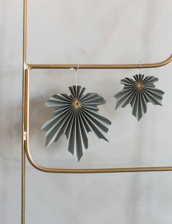 Set of Two Hanging Leaf Decorations - Silver