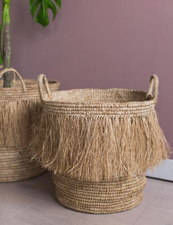 Set of Two Raffia Tasseled Baskets