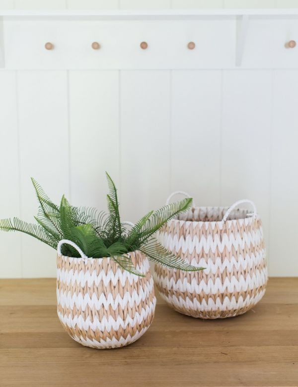 Set of Two White & Natural Patterned Wicker Baskets