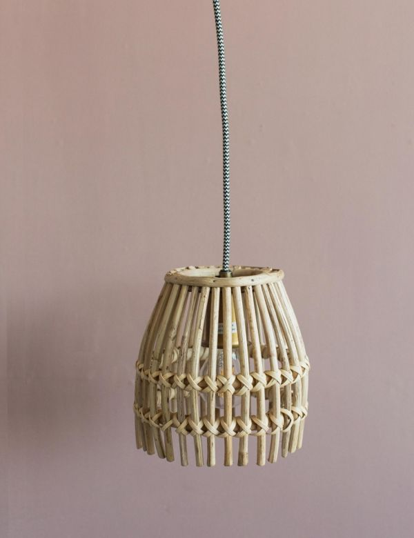 Small Bamboo & Iron Ceiling Lamp