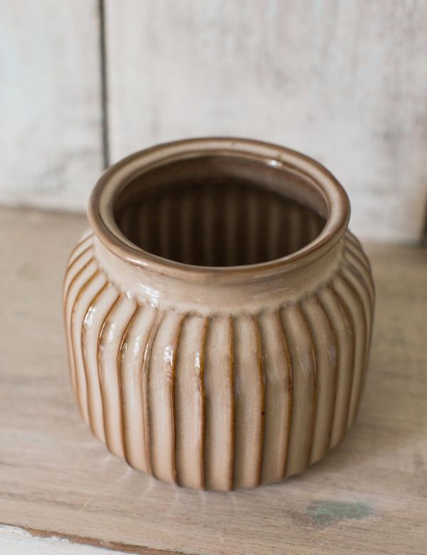 Small Stoneware Striped Vase