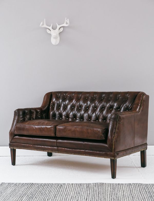 Vintage Leather Button & Stud Sofa