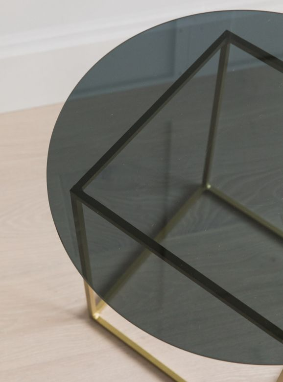 Sofia Brass & Smoked Glass Side Table