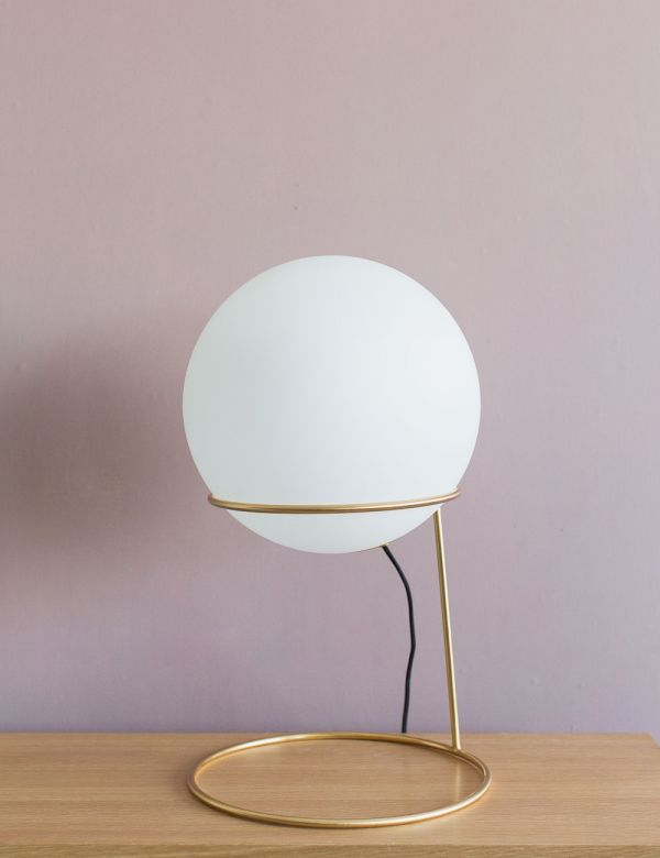 Solento Brass & White Globe Floor Lamp