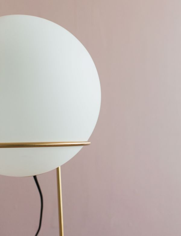 Solento Brass & White Globe Lamp