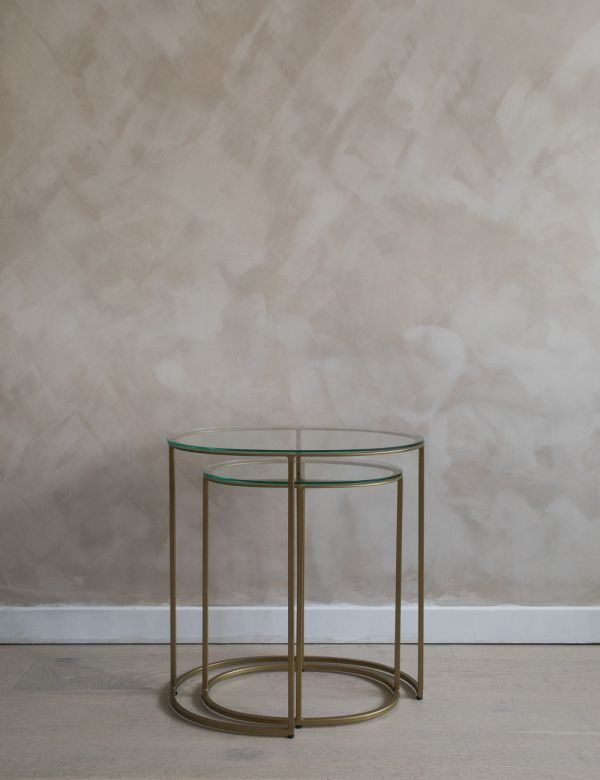 Sophie Set of Two Glass & Brass Side Tables