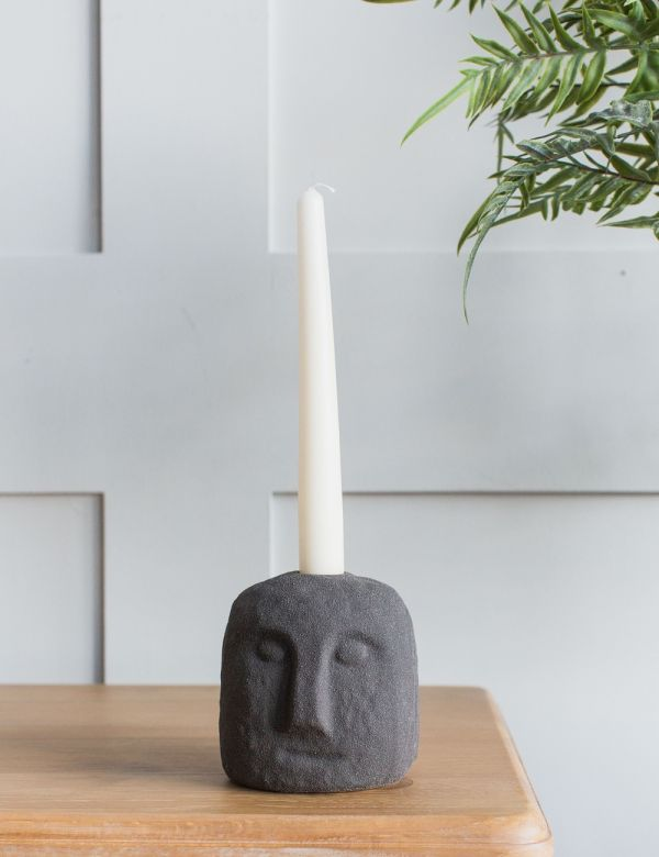 Stoneware Face Candle Holder