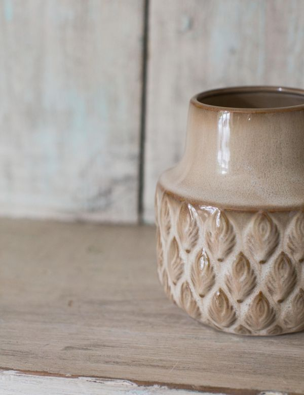 Stoneware Flower Vase with Imprint - Small