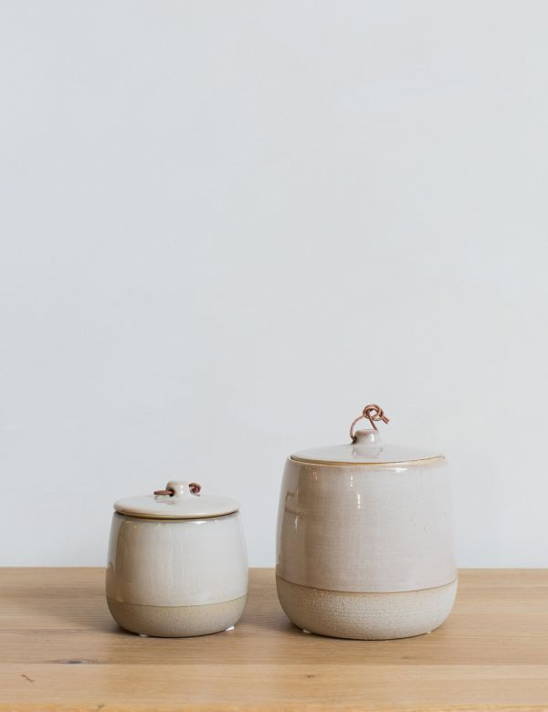 Stoneware Jar with Lid - Two Sizes Available